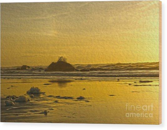 Ocean Yellow Wood Print by Nur Roy