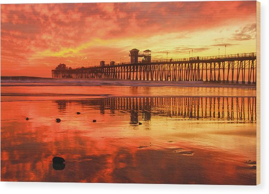 Oceanside Fire Wood Print