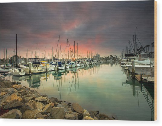 Oceanside Harbor Sunrise Wood Print