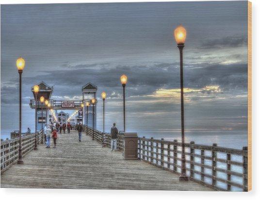 Oceanside Pier At Sunset Wood Print