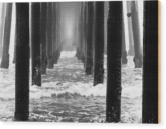 Oceanside Pier In Fog Wood Print