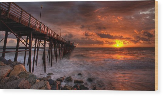 Oceanside Pier Perfect Sunset -ex-lrg Wide Screen Wood Print