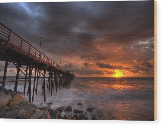 Oceanside Pier Perfect Sunset Wood Print