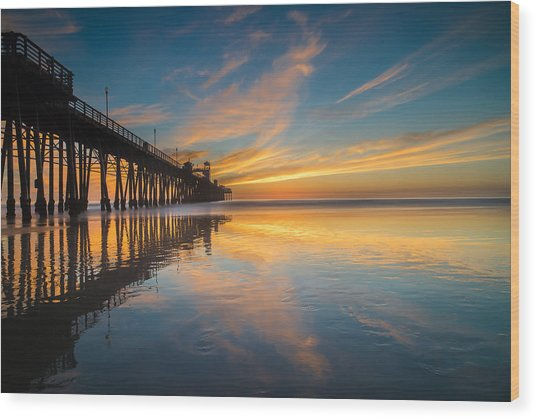 Oceanside Reflections 2 Wood Print by Larry Marshall