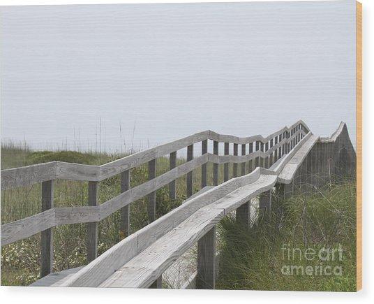 Ocracoke Boardwalk Wood Print by Cathy Lindsey