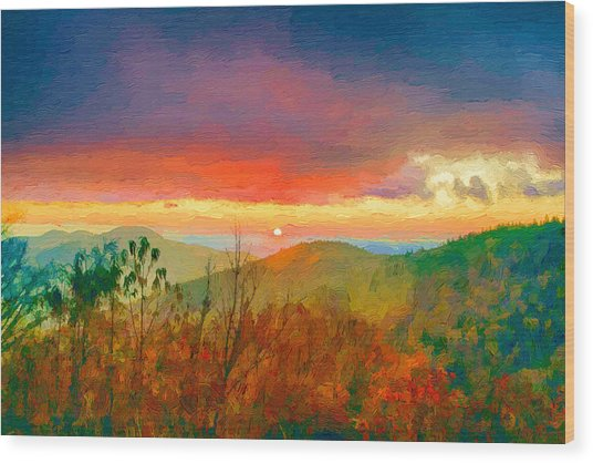 October Sunrise Painting On The Blue Ridge Parkway Wood Print