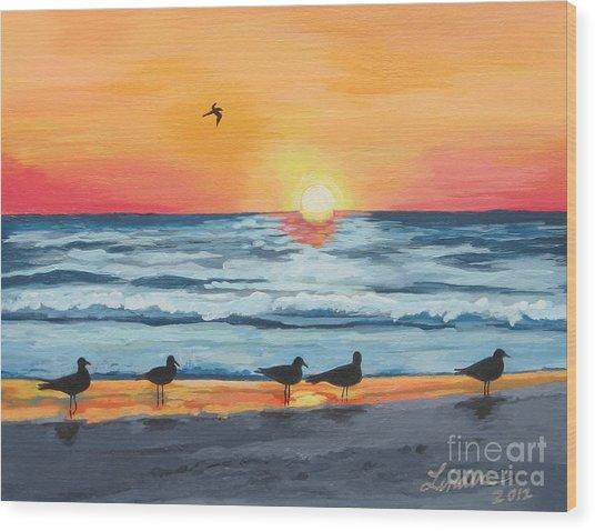 October Sunset On Siesta Key Florida Wood Print
