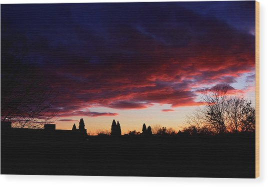 October's Last Sunset Wood Print