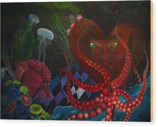 Octopus Heart Wood Print