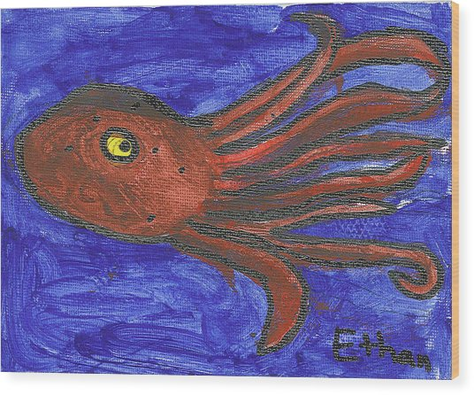 Octopus In The Deep Blue Wood Print by Fred Hanna