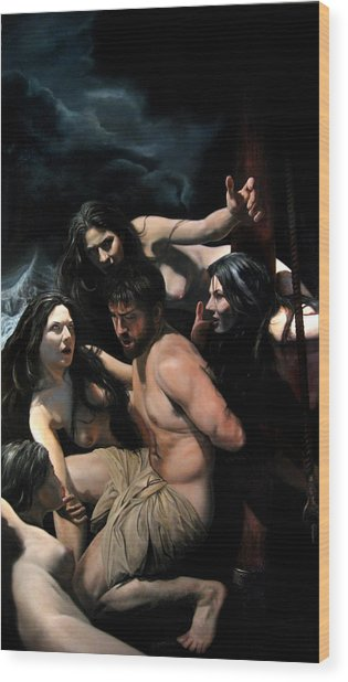Odysseus And The Sirens Wood Print by Eric  Armusik