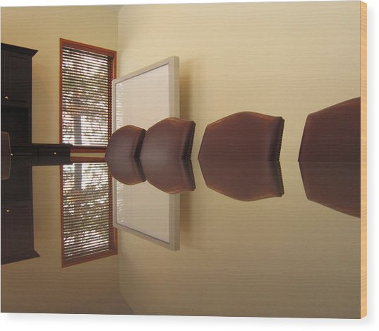Office Reflection 2 Wood Print by Mary Bedy