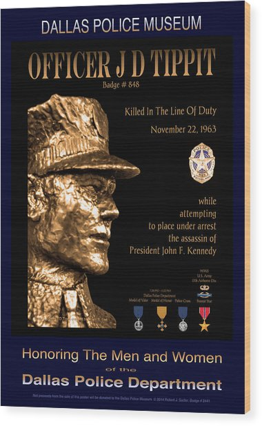 Officer J D Tippit Memorial Poster Wood Print