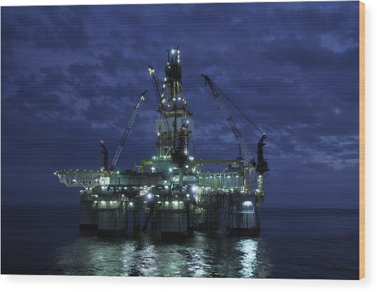 Offshore Oil Rig At Night Wood Print
