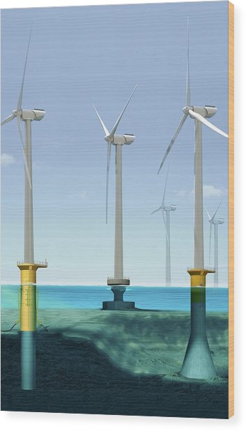 Offshore Wind Farm Wood Print by Claus Lunau/science Photo Library