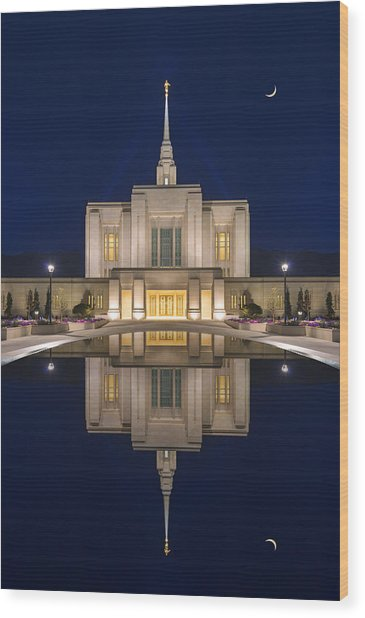 Ogden Temple Reflection Wood Print