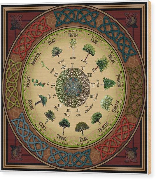 Ogham Tree Calendar Wood Print