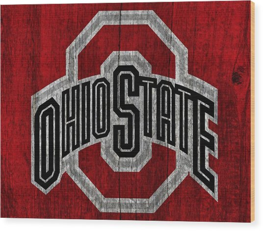 Ohio State University On Worn Wood Wood Print