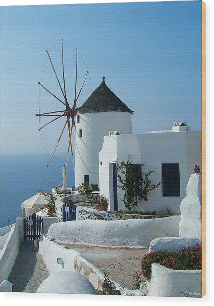 Oia Windmills Wood Print