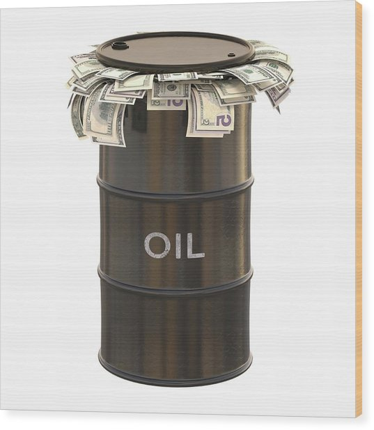 Oil Barrel With Us Dollars Wood Print