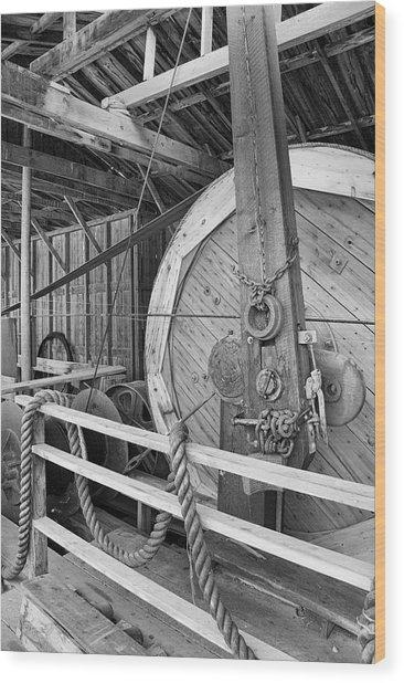 Oil Drill Flywheel Wood Print