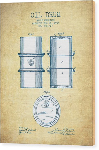 Oil Drum Patent Drawing From 1905 - Vintage Paper Wood Print