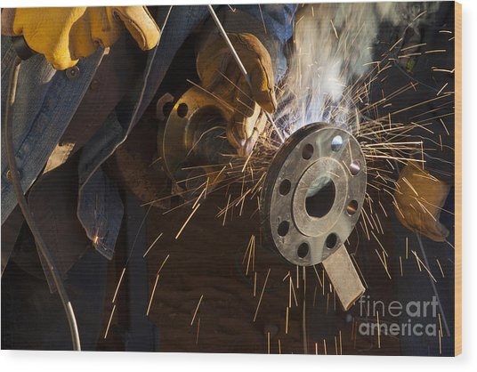 Oil Industry Pipefitter Welder Wood Print