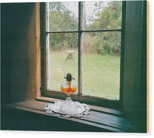 Oil Lamp On Window Wood Print