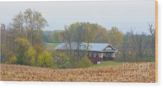 Oil Painted Covered Bridge Wood Print by Brian Mollenkopf