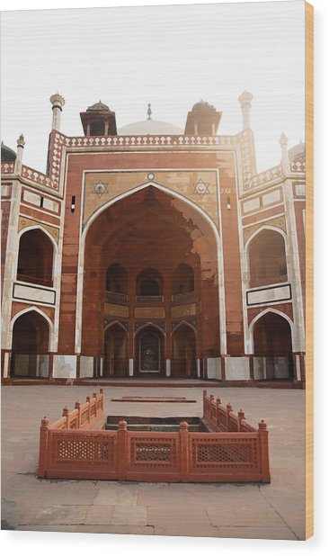 Oil Painting - Cross Section Of Humayun Tomb Wood Print