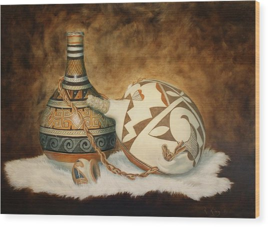 Oil Painting - Indian Pots Wood Print