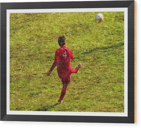 Oil Painting Of Soccer Player Wood Print by John Vito Figorito