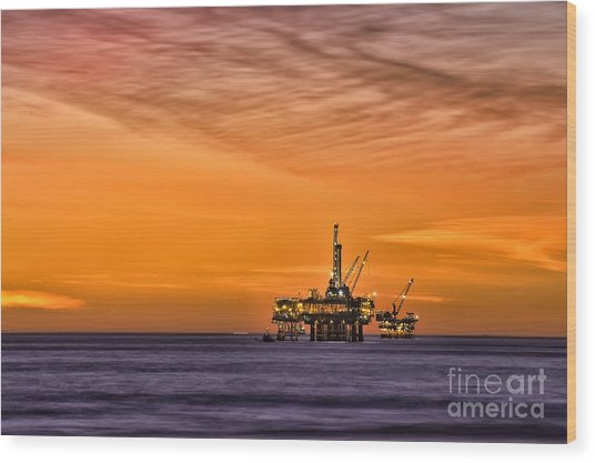 Oil Platform At Sunset  Wood Print