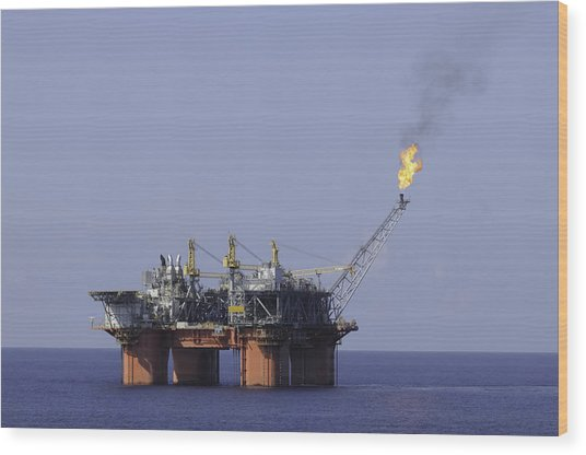 Oil Production Platform With Flare Wood Print