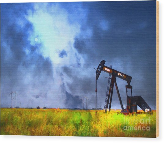 Oil Pump Field Wood Print