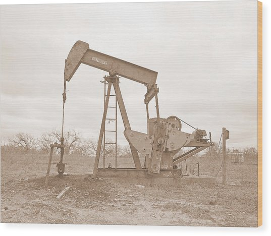 Oil Pump In Sepia Wood Print