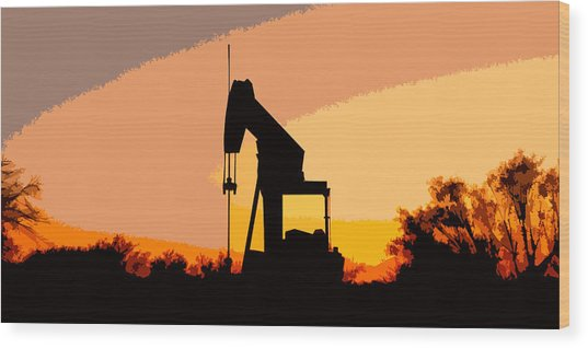 Oil Pump In Sunset Wood Print