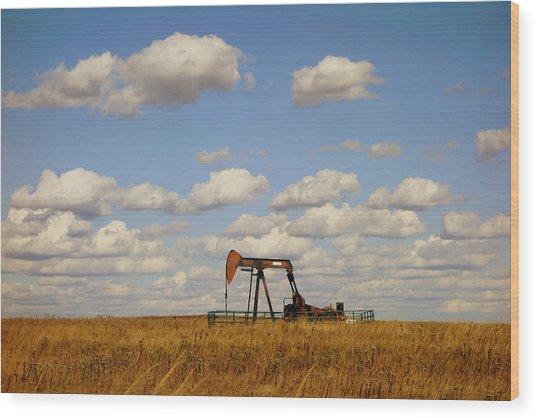 Oil Pump Jack On The Prairie Wood Print