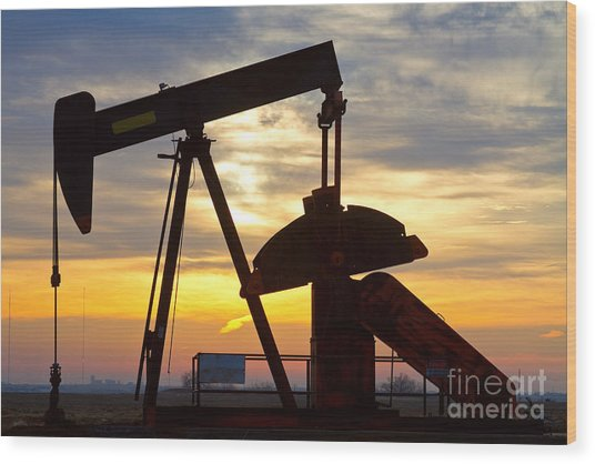Oil Pump Sunrise Wood Print