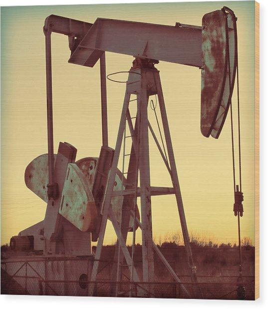 Oil Pump Wood Print by Tony Grider