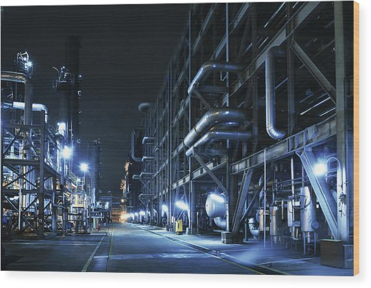 Oil Refinery, Chemical & Petrochemical Wood Print by Zorazhuang