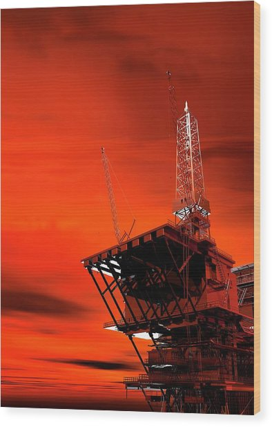 Oil Rig Wood Print by Victor Habbick Visions