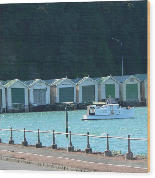 Okahu Bay Historic Boat Sheds Auckland Wood Print