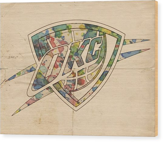 Okc Thunder Logo Art Wood Print