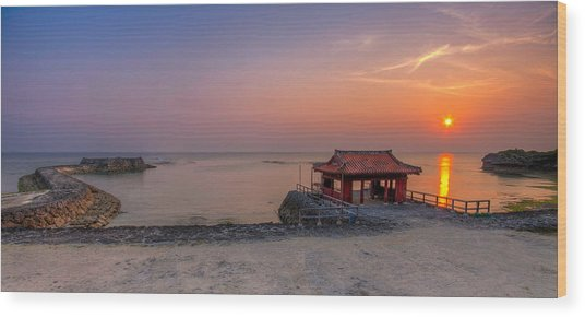 Okinawa Sunset In Yomitan Wood Print by Chris Rose