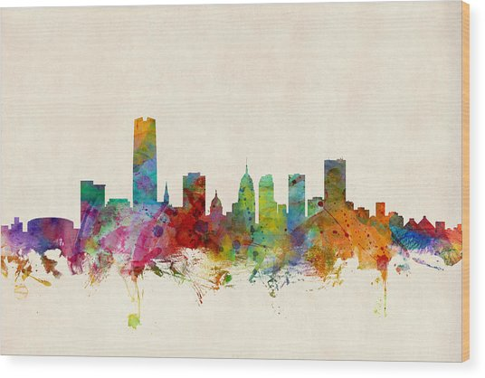 Oklahoma City Skyline Wood Print
