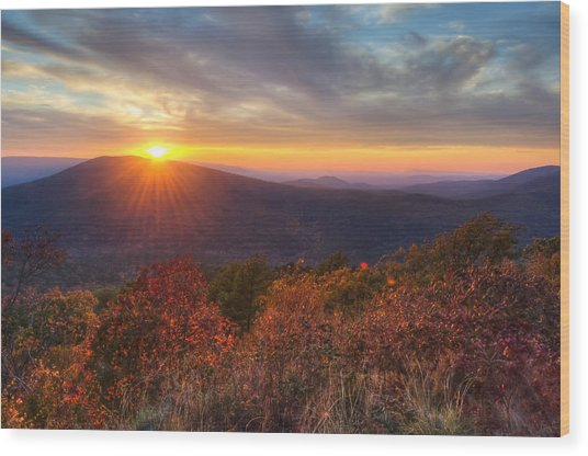 Oklahoma Mountain Sunset - Talimena Scenic Byway Wood Print