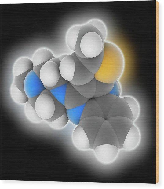 Olanzapine Drug Molecule Wood Print by Laguna Design