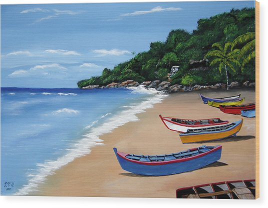 Olas De Crashboat Wood Print