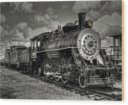 Old 104 Steam Engine Locomotive Wood Print
